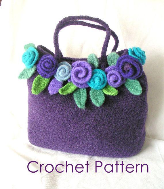 Felted Rose Bag Crochet Pattern Tutorial pdf  Crochet by GraceG2, $12.50