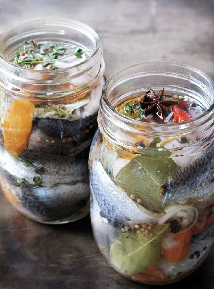 Home-marinated herring! In Scandinavia, once the pickling process is finished and depending on which of the dozens of classic herring flavourings (mustard, onion, garlic, lingonberries etc.) are selected, it is usually enjoyed with dark rye bread and snaps.