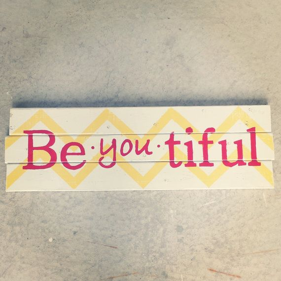 Pallet Wood BeYOUtiful Chevron Sign. Yellow and Red via Etsy