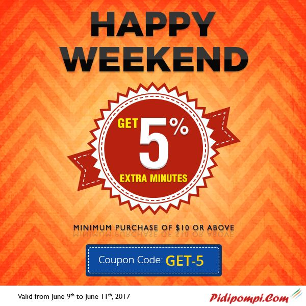 """Pidipompi Happy #WeekendOffers - Use Coupon Code: """"GET-5"""" And Choose Cheap International Calling Plan from USA or Canada - http://www.pidipompi.com/promo/Happy-weekend-09-June-2017.html"""