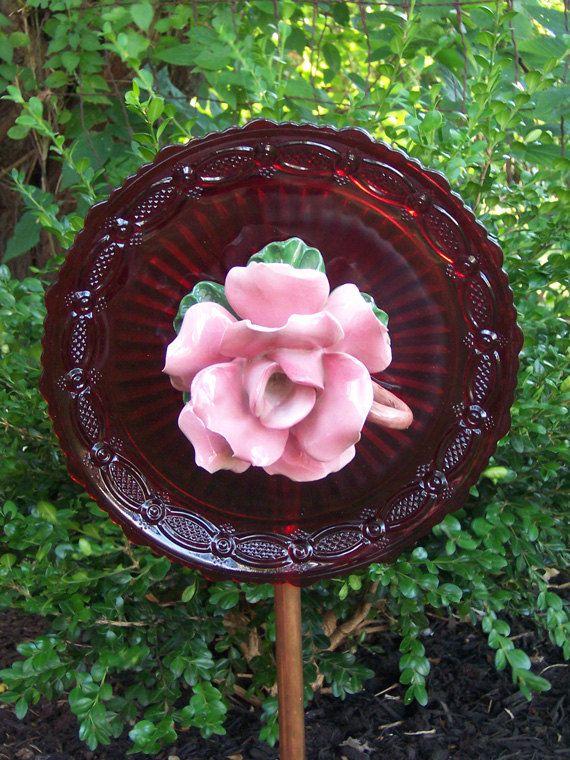 Red Glass Flower Garden Yard Art   Pink Rose Center