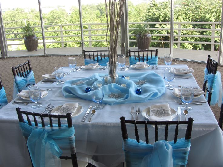 Winter Wedding Theme- Blue Chair Sashes and Table Decor