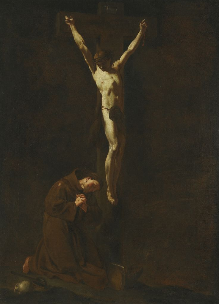 Follower of Giambattista Piazzetta CHRIST ON THE CROSS WITH SAINT FRANCIS oil on canvas, with an unidentified collector's wax seal on the stretcher 74.5 by 53.8 cm.; 29 3/8  by 21 1/4  in.: