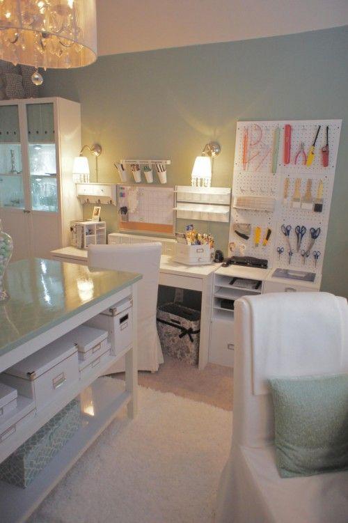 Pretty Craft Room!  With a Little Bit of Glamour {JDS Designs} | Craft Storage Ideas