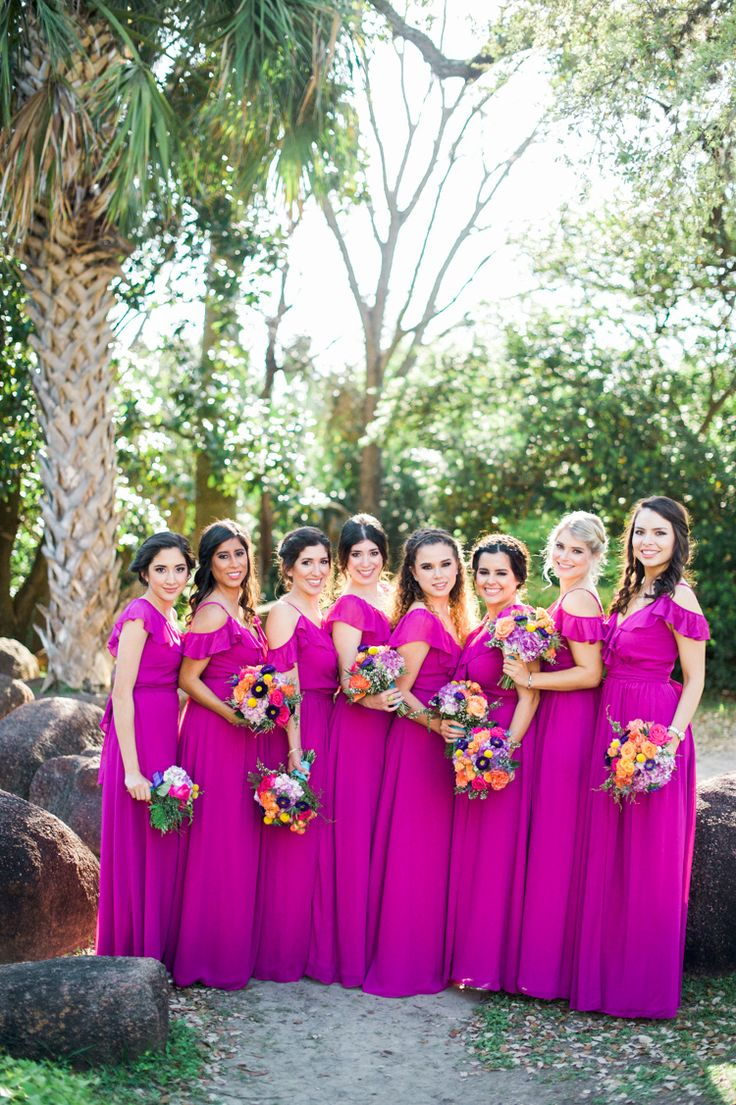 McNay art museum wedding, Joanna August scarlet begonias Portia dress bridesmaid Mexican inspired colorful San Antonio wedding www.shannonsklossweddings.com Shannon Skloss Photography