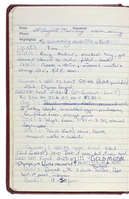The State Library of New South Wales holds the diary and other papers of Olypmic gold-winning Australian swimmer Shane Gould. From 2005 to 2007, the diary toured Australia as part of the  National Treasures from Australia's Great Libraries exhibition. http://nationaltreasures.nla.gov.au/index/Treasures/item/nla.int-ex6-s10