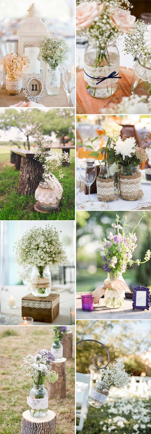 decorate your wedding mason jars with lace