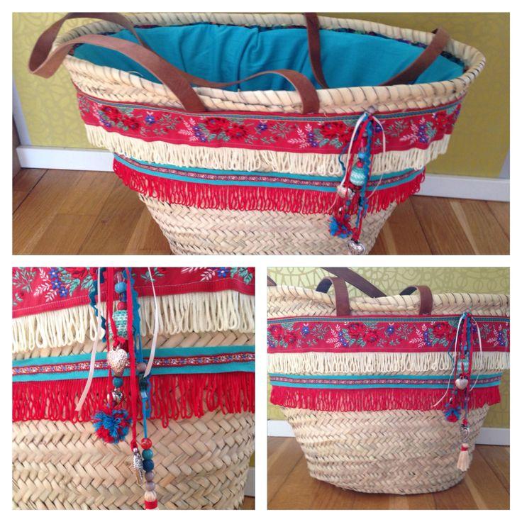 Rieten strandtas, ibiza style, beachbag, bag, tas, turqoise, rood, riet, diy, zelf maken
