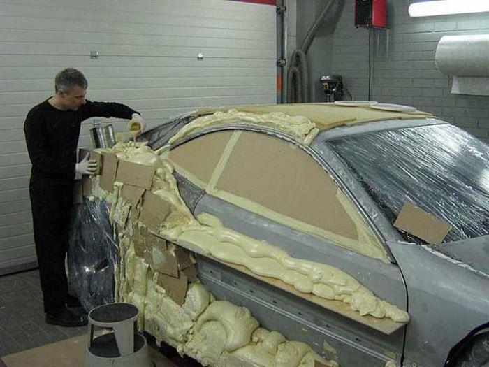 A Man Turns A Scrap Car Into A Beautiful Sports Car Using EXPANDING FOAM.