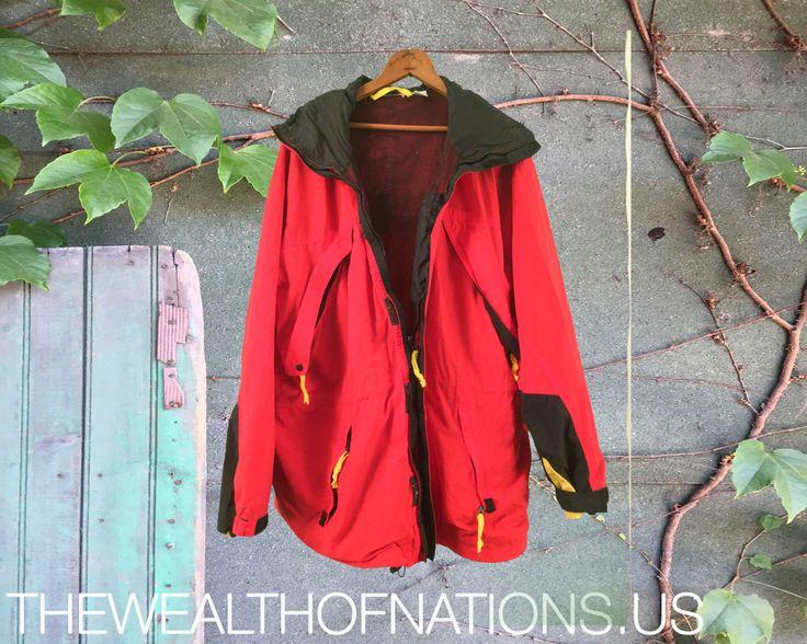 Red Zip Up 90's Windbreaker Hoodie Jacket
