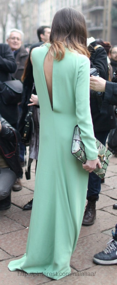 Street style #mint maxi dress back out
