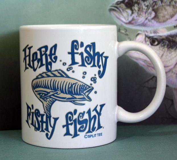 SOLD!! #SplitTee Here Fishy Fishy #Fishy #Fishing #Fisherman #Coffee Tea Cocoa #Mug #Ebay