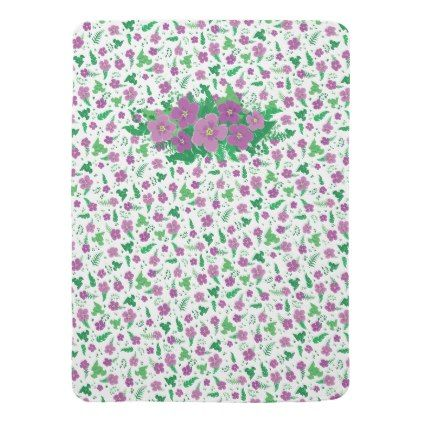 Purple Hibiscus Receiving Blanket - pattern sample design template diy cyo customize