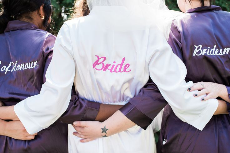 Personalized silk gowns for the wedding party from Wedding Prep Gals. Photo credit: https://www.pinterest.com/elisaphoto/