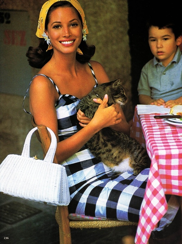 Gingham on gingham, a cat and Christy TurlingtonModels, Postcards, Cat, Fashion, Christy Turlington, December 1992, Timeless Style, Arthur Elgort, Sweet Life