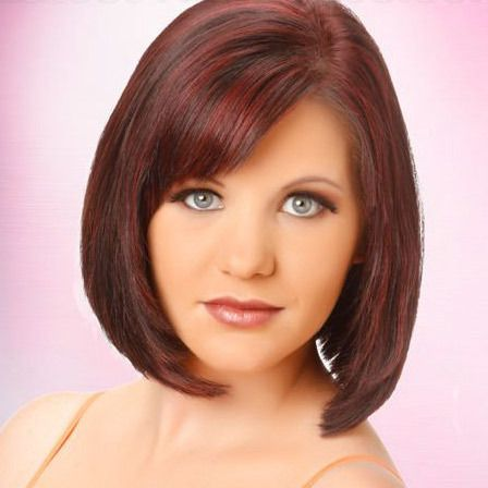 red smooth bob hairstyle with bangs