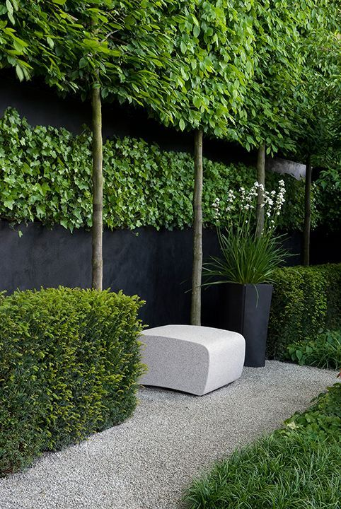 Butt edge wood could be placed on the walls, with three or four topiary trees extending above. No planter boxes required...just square cut outs, with the boxing beneath deck...layer tops of beds with smooth white or beige stones