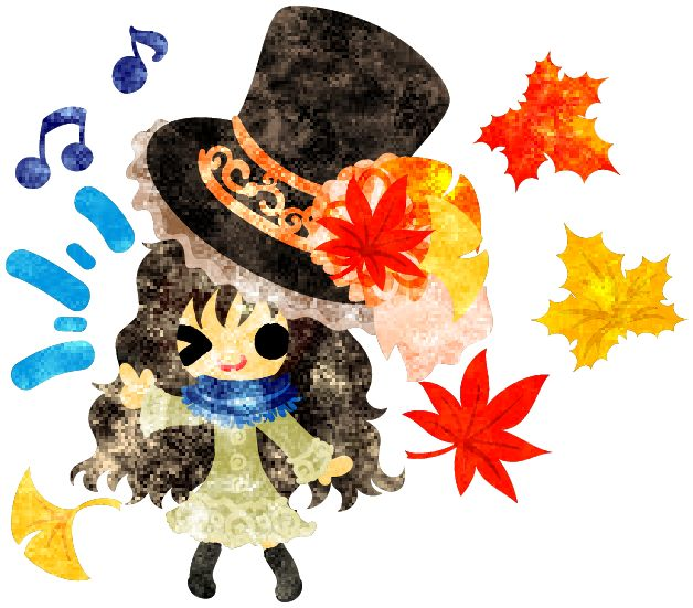 "フリーのイラスト素材秋と女の子の可愛いイラスト -紅葉のシルクハット-  Free Illustration ""The cute illustration of autumn and girl -Silk hat of colored leaves-   http://ift.tt/2fuuslu"