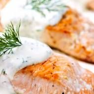 Sensational Salmon with Cucumber Dill Sauce---eliminate mayo