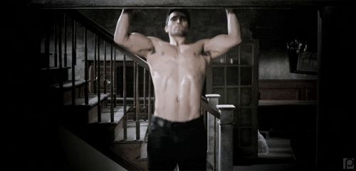 Pin for Later: 9 Times You Couldn't Unglue Your Eyes From Tyler Hoechlin's Shirtless Bod on Teen Wolf When He Does Pull-Ups and You Worked Up a Sweat