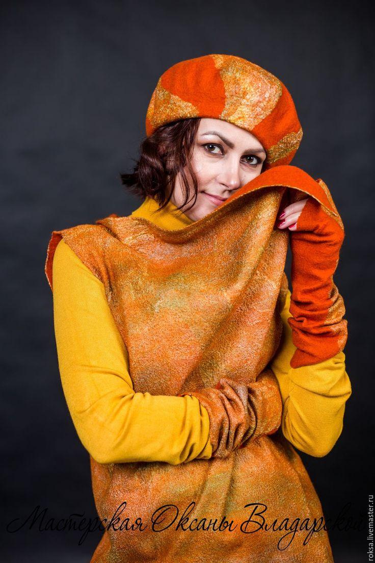 """Купить Комплект берет и митенки """"Рыжая осень"""" - оранжевый цвет, рыжий цвет, яркий комплект"""