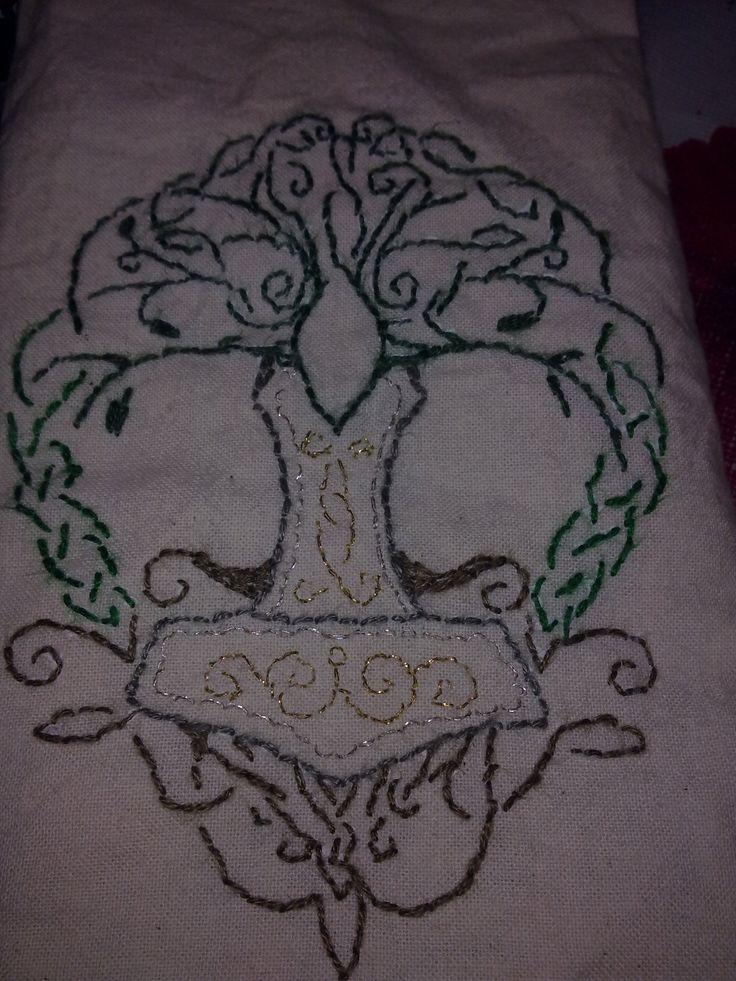 handmade, small bag with tree of life and mjolnir.