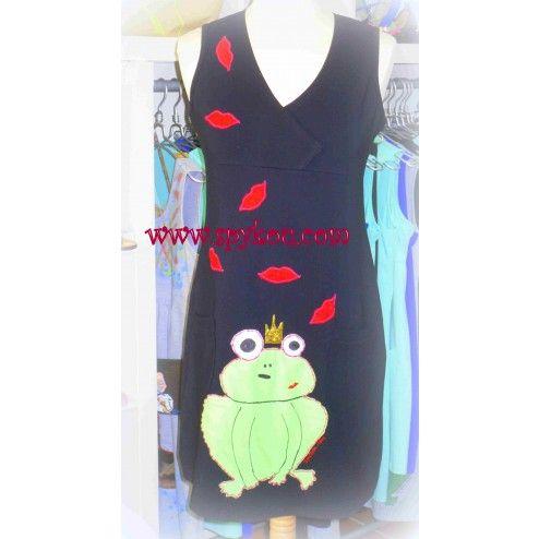 """Γυναικείο αμάνικο φόρεμα με V λαιμόκοψη  """"Φίλα το βάτραχό σου"""""""