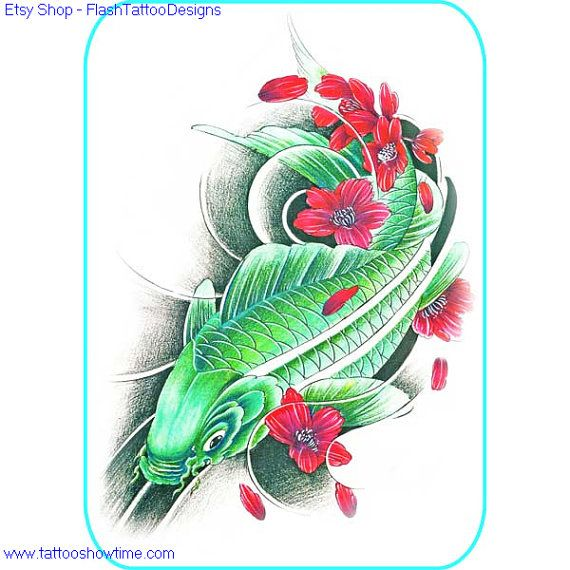 Koi Tattoo Flash Design 9 For You On Etsy. Top Quality