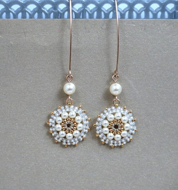 Long pearl earrings. Bridal pearl earrings Pearl by LioraBJewelry