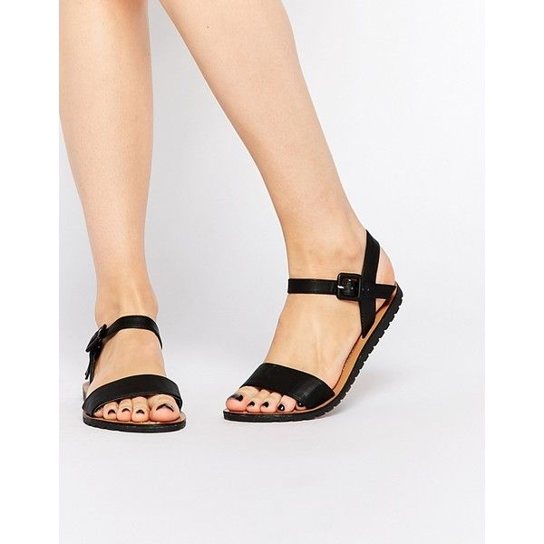 Daisy Street Black Flat Sandals (32 AUD) ❤ liked on Polyvore featuring shoes, sandals, black, adjustable strap sandals, vegan shoes, strap flat sandals, strap sandals and strappy flat sandals