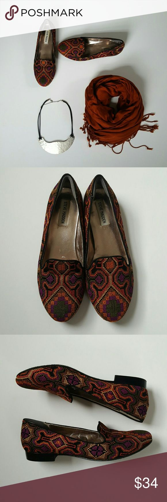 Steve Madden Loafers Perfect for fall! Embroidered slip on loafers, worn once! New heel cushion added for comfort Steve Madden Shoes Flats & Loafers