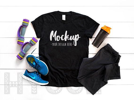 Download Free Gildan 64000 Unisex Black T Shirt Mockup Sport Mockup Fitness Psd Free Psd Mockups Mockup Free Psd Free Packaging Mockup Shirt Mockup