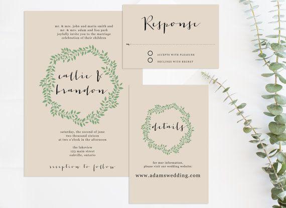 Invitation de mariage imprimable définie par AcetiDesignCo sur Etsy