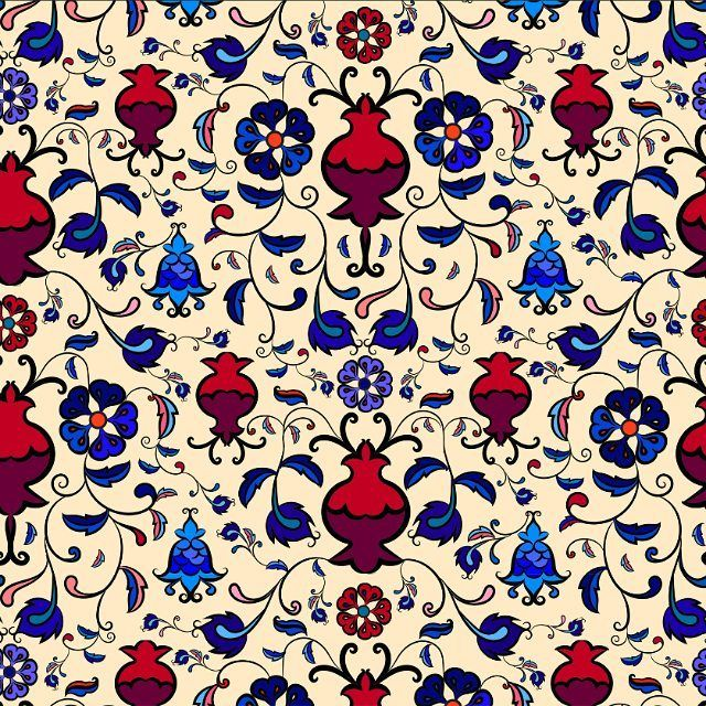 A seamless floral pattern by Antonina Kalinina, inspired by Iznik pottery. Pomegranates, blue campanula, swirls against a golden background.