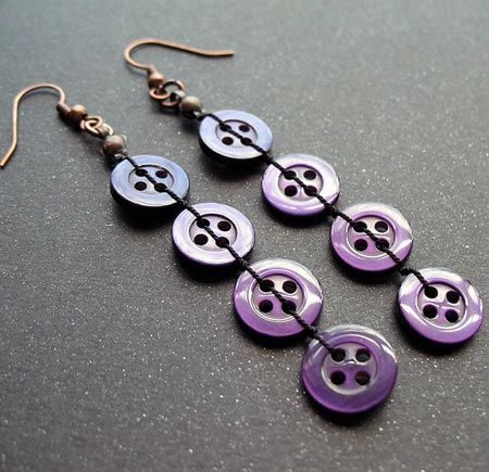Crafts with buttons | Dangle Button Earrings | Arts, Crafts and Design Finds