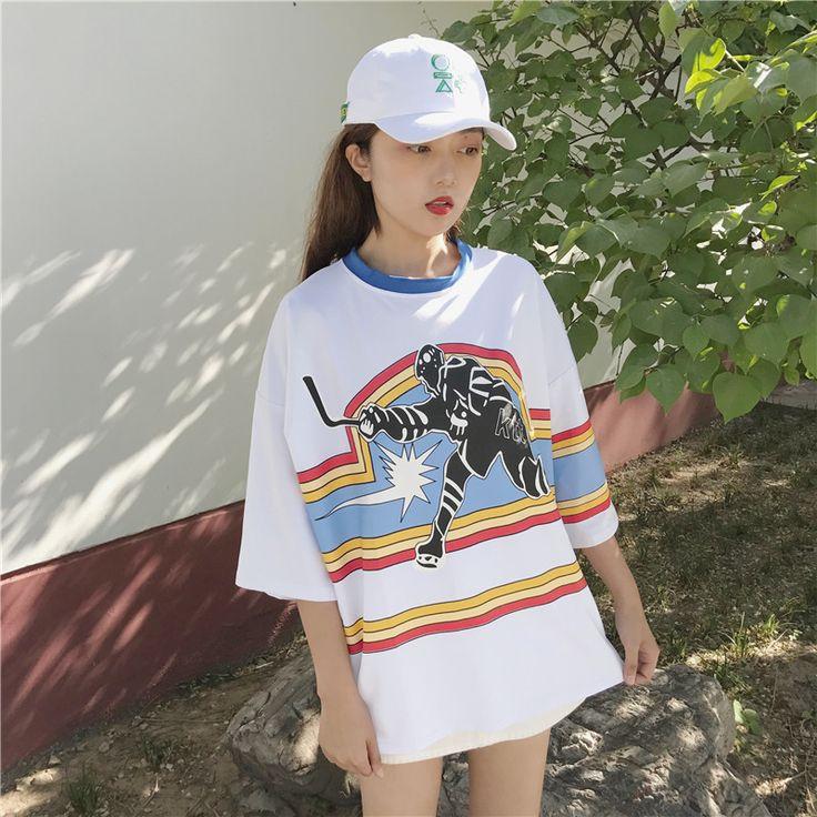 韓国 ストリート スケーター B系 ステージ衣装 ダンス衣装 ガールズ ファッション HIPHOP 半袖 Tシャツ ロゴ キャラクター レディース ダンス 衣装