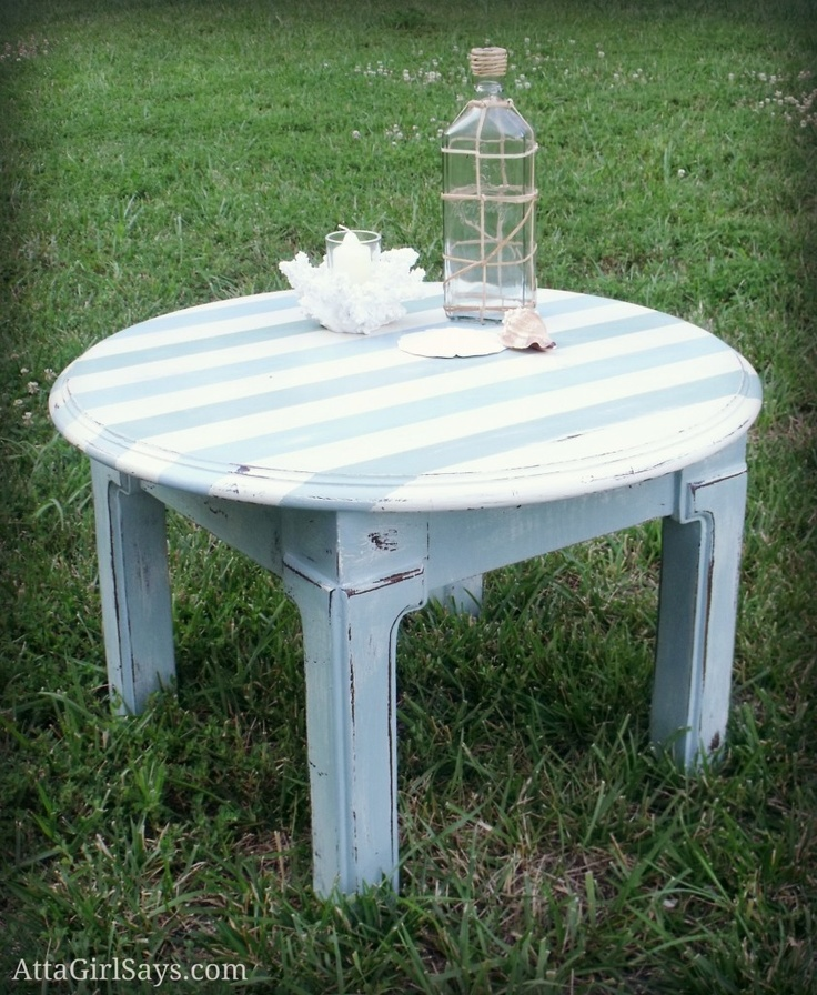 Beachy table with striped top by AttaGirlSays.com: Painted Furniture,  Handbasin, Hands Paintings Furniture, Beachi Tables, Yard Sales Finding, Beaches Houses, Furniture Ideas, Handpaint Furniture, Front Porches