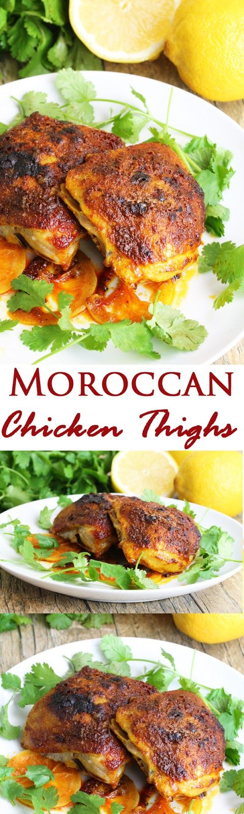 Moroccan Chicken Thighs. A super easy recipe with vibrant colors that is absolutely bursting with flavor!
