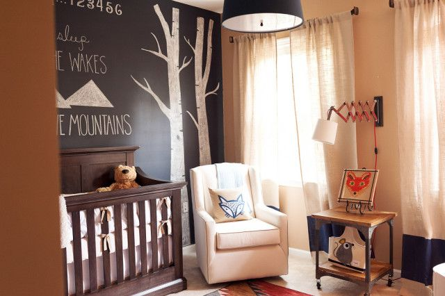 Neutral Fox Nursery - Project Nursery: Foxes Nurseries, Chalk Wall, Hilton Foxes, Projects Nurseries, Black Accent Wall, Baby Boy, Foxes Theme Nurseries, Chalkboards Wall, Black Wall