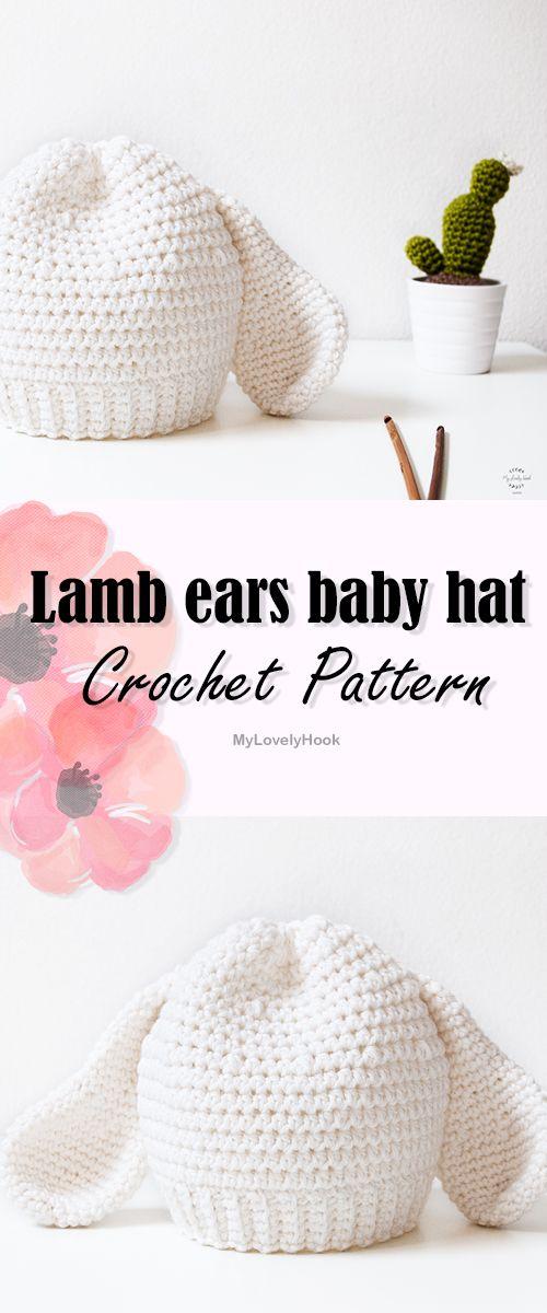Lamb ears baby hat crochet pattern / Easter gift idea crochet / crochet baby photo prop || MyLovelyHook