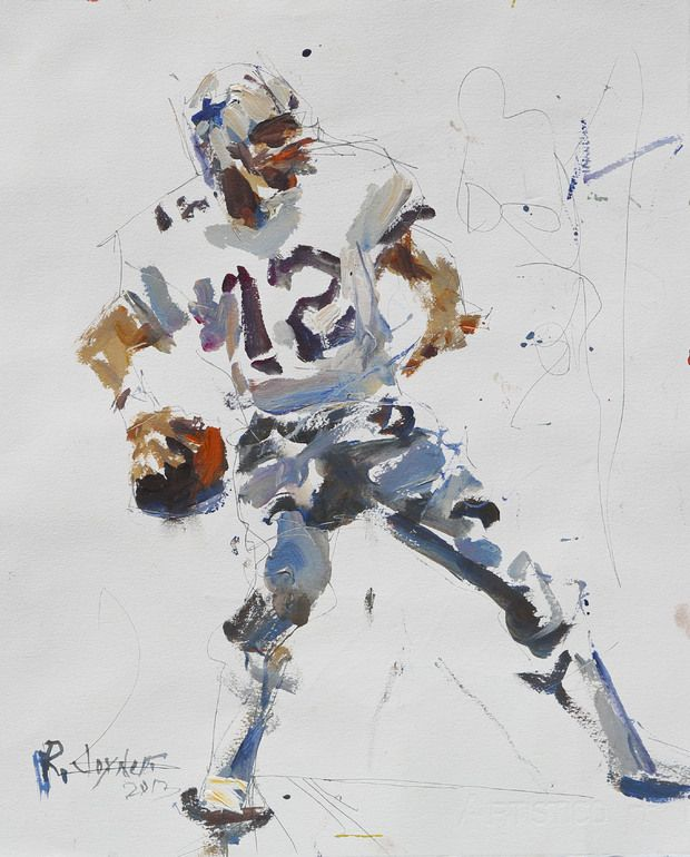 Dallas Cowboys Artwork featuring legend Roger Staubach painted with mixed media on paper. Clean, crisp and expressive Cowboys artwork.