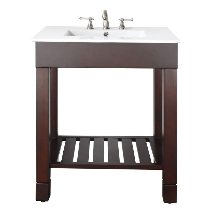Avanity Loft Dark Walnut 31-in Integral Single Sink Poplar Bathroom Vanity with Vitreous China Top