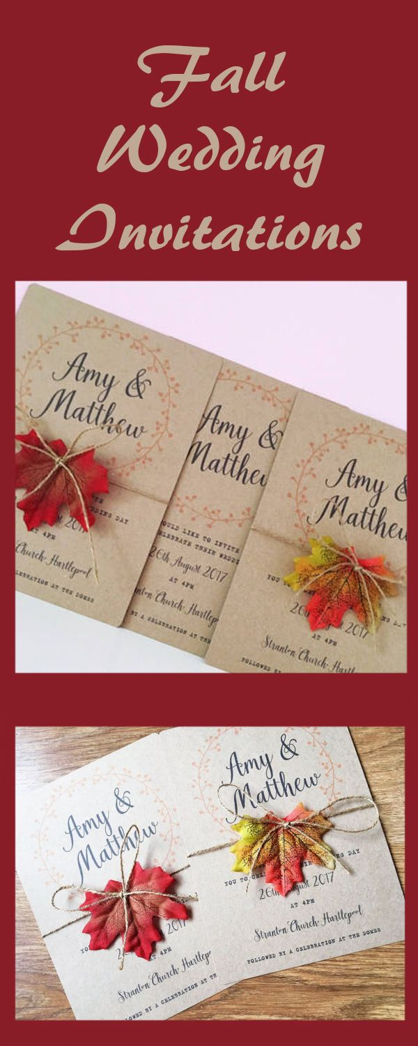 Autumn wedding invitations / autumn leaves / wedding invite / fall ...