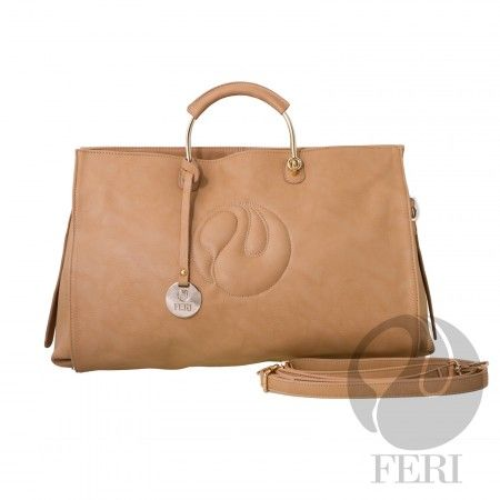 -Oversized faux leather purse -FERI Logo top stitched into front of bag  -Hold hardware handles with PU leather -Exterior zippered pouch on the back of the bag  -Custom FERI Lining with zippered pocket and cellphone pouches  -Comes with shoulder strap -Dimensions: 44 cm x 30 cm x 23 cm