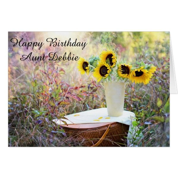 Personalized Happy Birthday Aunt Sunflower Card Zazzle Com Good Morning Flowers Flower Images Morning Flowers