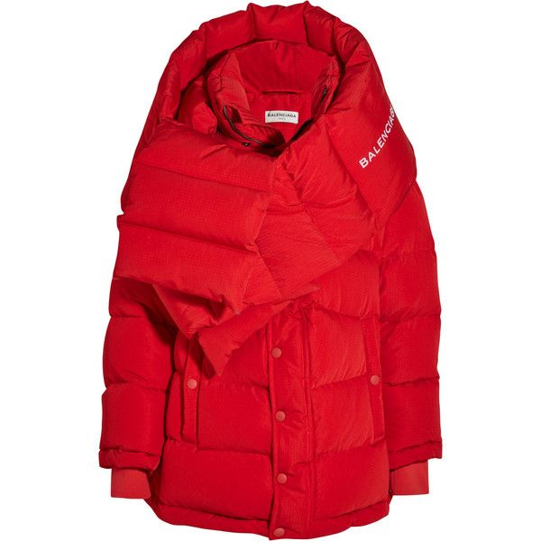 Balenciaga Oversized quilted shell jacket (£1,915) ❤ liked on Polyvore featuring outerwear, jackets, balenciaga, coats, red jacket, shell jacket, oversized jacket and balenciaga jacket