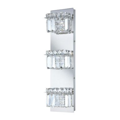 Crown Vertical 3 Light Vanity In Chrome And Clear Crystal Glass