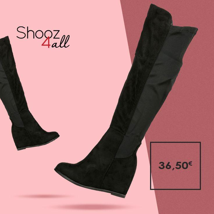 Για δυναμικό και απόλυτα θηλυκό στυλ, γυναικείες μπότες πλατφόρμες πάνω από το γόνατο. Από μαλακό βελουτέ ύφασμα, διαθέτουν ντυμένη πλατφόρμα ύψους 9 cm.  http://www.shooz4all.com/el/gynaikeia-papoutsia/mavres-mpotes-platformes-h131-detail #shooz4all #over_the_knee #mpotes