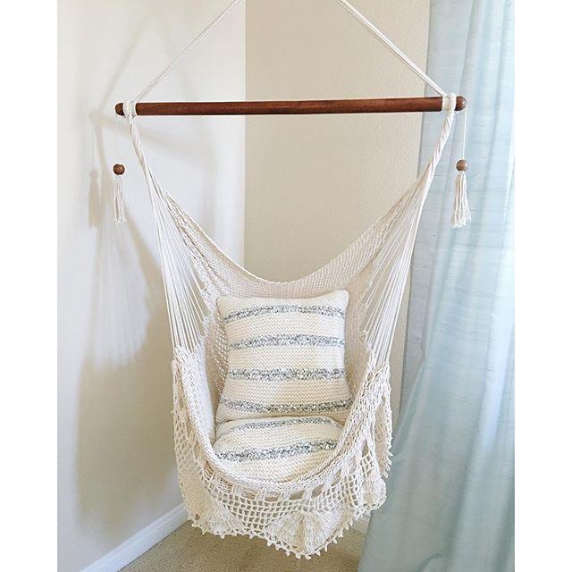 Hanging Chair Sitting Hammock Porch Swing With Macrame Fringe Off-White Organic Cotton Indoor/Outdoor Mission Hammocks Handmade Crochet