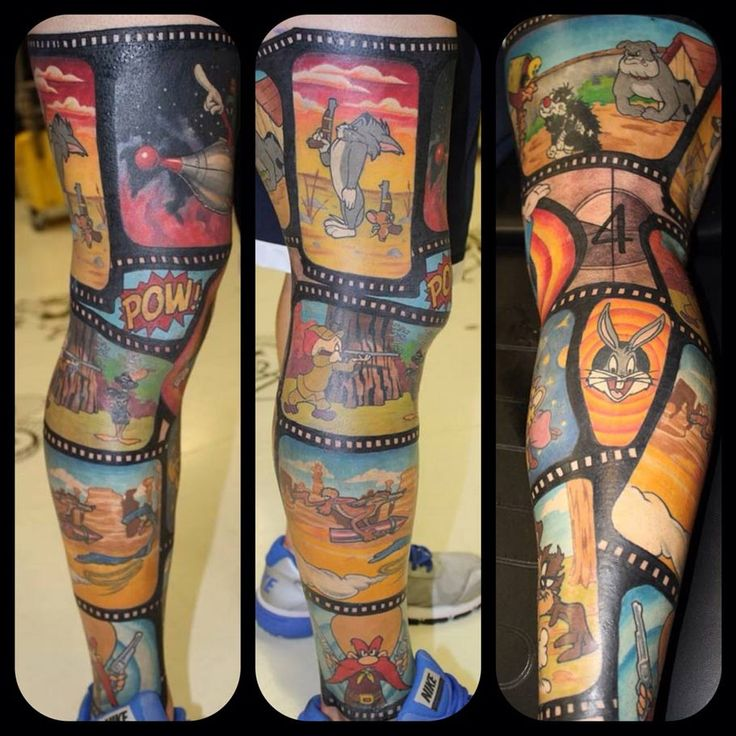 This tattoo sleeve of classic cartoon characters is so impressive that I'm even willing to overlook that the artist used Chuck Jones' redesign of Tom & Jerry.